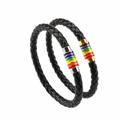 pulsera gay pride unisex rainbow cuero acero orgullo lgbt, lesbian lesbiana trans transexual bisexual gay comprar pulsera LGBT, pulsera LGBT significado