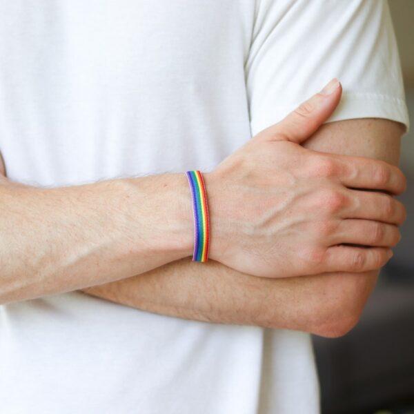 pulsera arcoiris pulsera de tela del orgullo gay lgbt pulsera lgbt tela