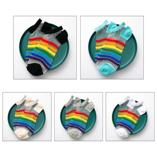 calcetines lgbt tobilleros transparentes arcoiris verano