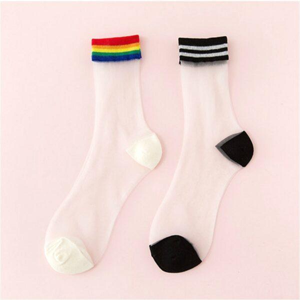 Mujeres ultrafino transparente Stretch calcetines cortos Nuevo Arco Iris Sheer malla calcetines de seda de vidrio mujer elástico verano tobillo calcetín