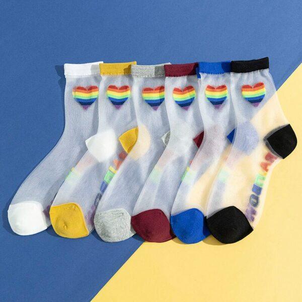calcetines orgullo lgbt gay transparentes con conrazon pride love