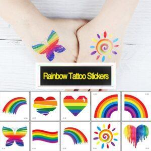 Tatuajes temporales de la bandera de arcoíris de Fiomia pegatinas para festivales del orgullo impermeables pintura corporal