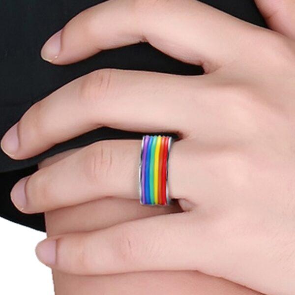 anillos bisuteria LGBT barata elegante para gay parejas orgullo