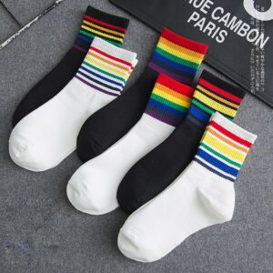 Be-ryl Novedad Calcetines LGBT Rainbow Gay Sport Stocking Casual Unisex Crew Calcetines 30CM