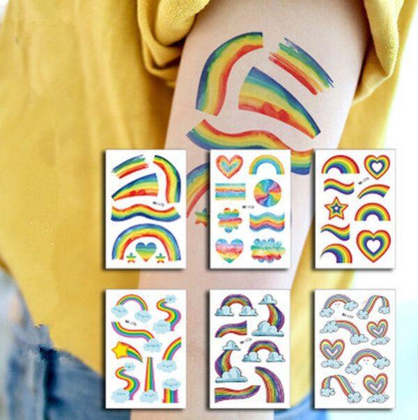 Tatuajes Temporales de Bandera LGBT 20 Hojas Etiqueta de Arcoíris de Fiomia Orgullo Gay Rainbow Stickers