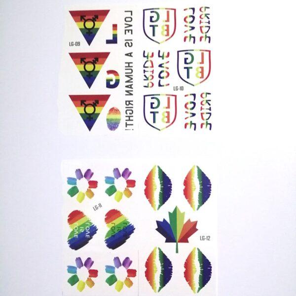 PHOGARY 20 hojas Gay Pride Tatuajes patrón de bandera LGBT Tatuajes Temporales de Arco Iris Calcomanías de Pinturas Corporales