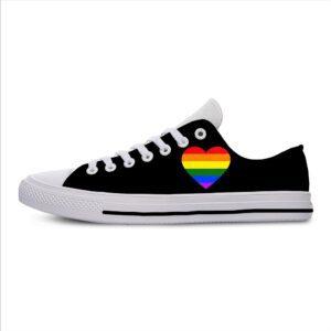 Zapatillas informales vans de tela negra LGBT estampadas y transpirables
