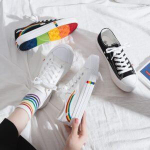 zapatillas de lona estilo vans a la moda orgullo lgbt bordadas pride arcoiris coloridas